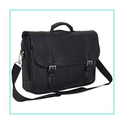 【新品】Kenneth Cole Reaction Show Full-Grain Colombian Leather Dual Compartment Flapover 15.6-inch Laptop Business Portfolio, Black, One Size(