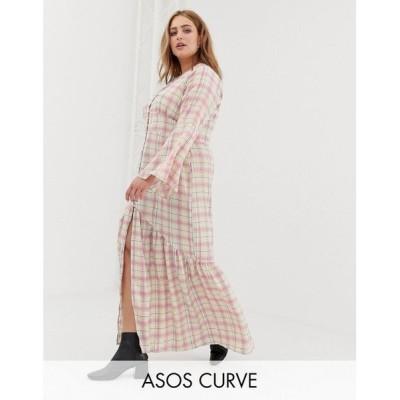 グラマラス Glamorous Curve レディース ワンピース ワンピース・ドレス Glamorous curve maxi tea dress with button front in grid check White