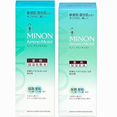 化粧水+乳液ミノン アミノモイスト 薬用アクネケアローション 150ml(4987107624871)+ミルク100g(4987107624925)