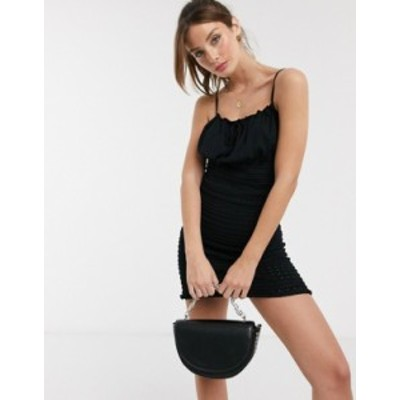 エイソス レディース ワンピース トップス ASOS DESIGN shirred knitted pointelle mini dress Black