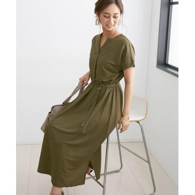 リネン調カットソー素材 ベルト付きワンピース (ワンピース)Dress