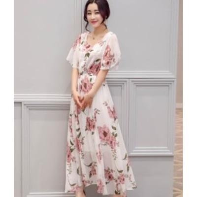 花柄 ワンピース マキシ丈 マキシワンピ シフォン お呼ばれ 秋物 冬物 最新 レディース ファッション 2020 人気 可愛い 大人