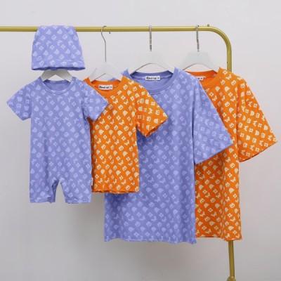 2021親子お揃い服 半袖Tシャツ 男の子 女の子 ママパパ 親子 ペアルック ペア 半袖 ペアTシャツ 兄弟お揃い ペアルック リンクコーデ キッズ 綿