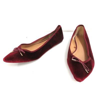 【中古】ベロア パンプス フラットシューズ ポインテッドトゥ L ワインレッド系 リボン 靴 レディース 【ベクトル 古着】