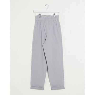エイソス レディース カジュアルパンツ ボトムス ASOS DESIGN paperbag waist chino pants in gray Gray