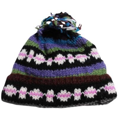 帽子 ネパール・手編みボンボン帽子8 クリックポスト選択 送料200円