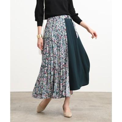 ViS 【セットアップ対応】マルチウェイフラワープリントスカート(グリーン系(35))【返品不可商品】