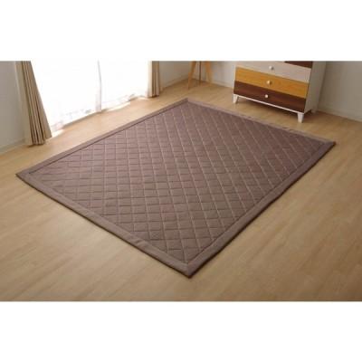 ラグ カーペット  デニム調 ニットキルトラグ『アルバ2IT』 ブラウン 約145×145cm 正方形 コンパクトラグ