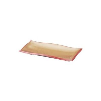 盛器 尺2寸長手清流盛器 色紙金箔渕朱 SH塗 幅355 奥行148 高さ41/業務用/新品