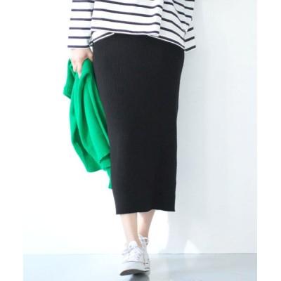 (coca/コカ)【ストレッチ】シャリ感サマーリブニットスカート/レディース BLACK