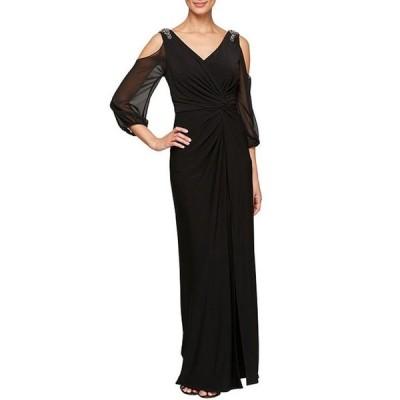 アレックスイブニングス レディース ワンピース トップス Petite Size Matte Jersey Illusion Sleeve Embellished Cold Shoulder Gown