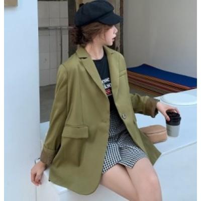 テーラードジャケット 春服 レディース  ジャケット オーバーサイズ カーキ 春ジャケットレディース 春 アウター 韓国 ファッション レデ