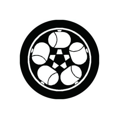 家紋シール 白紋黒地 糸輪に五つ槌 布タイプ 直径23mm 6枚セット NS23-1746W