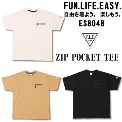ネコポス発送 EDWIN F.L.E クルーネック ZIPポケットTシャツ ES8048 半袖Tシャツ ホワイト ベージュ ブラック トップス