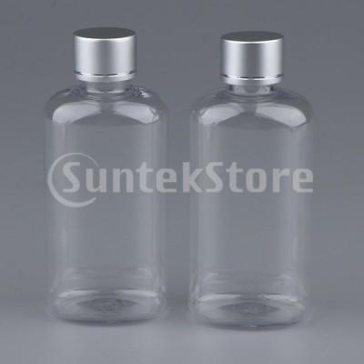 2本100ミリリットル空のプラスチック化粧品ボトルクリア詰め替え用アメニティボトル