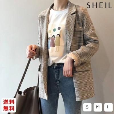 グレンチェック テーラードジャケット レディース 2020 春 韓国 スタイル レトロ チャック柄 スーツ ジャケット
