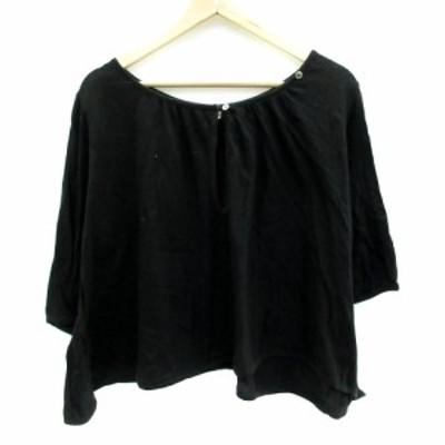【中古】ジャーナルスタンダード ラックス Tシャツ カットソー 半袖 Uネック 無地 オーバーサイズ 黒 レディース