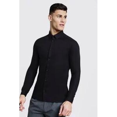 Boohoo メンズトップス Boohoo Slim Fit Long Sleeve Smart Shirt black