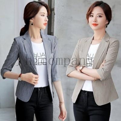 新作レディーステーラードジャケットアウター縦縞5分袖スリム大きいサイズブラックフォーマル通勤オフィスOLお洒落2色