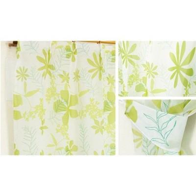 8種類から選べる ボイルレースカーテン / 2枚組 100×133cm グリーン / 柄 物 ボタニカル 『ボイルアイリ』 九装