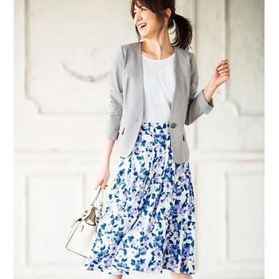 ジーラ GeeRA 洗える!ジャケット&花柄スカートセットア (アイスグレー/アオケイ)