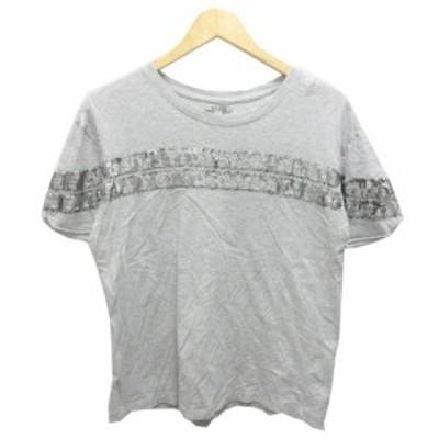 【中古】ザラ ZARA Tシャツ 半袖 クルーネック カットオフ バックロゴ スパンコール 装飾 M グレー レディース
