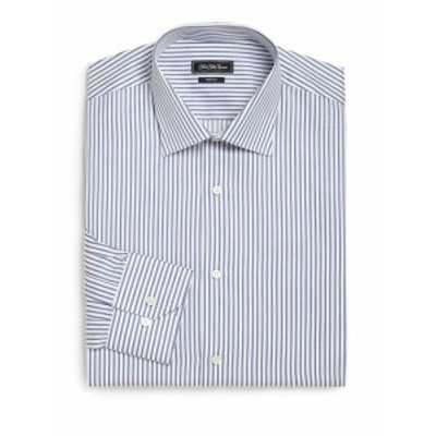 サックスフィフスアベニュー Men Clothing Trim-Fit Striped Dress Shirt