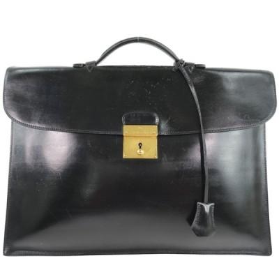 HERMES エルメス キリウスドゥ ビジネスバッグ ハンドバッグ ボックスカーフ 黒 メンズ 中古  B-ランク