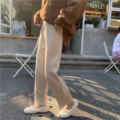 全2色 サルエルパンツ 体型カバー 着痩せ ハイウエスト カットソー 無地 韓国風 カレッジ風