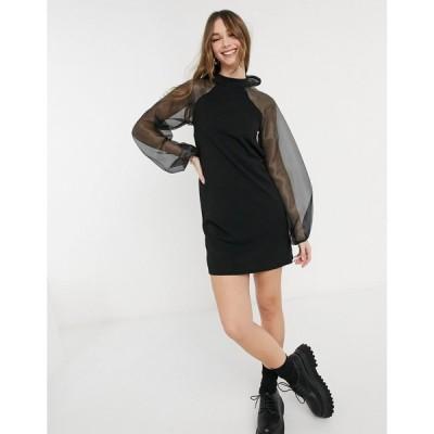 ピース ミニドレス レディース Pieces mini dress with organza sleeves and bow back in black エイソス ASOS ブラック 黒