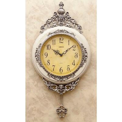 輸入雑貨 ビクトリアンパレス ペンデュラムクロック 壁掛け 時計 ホワイト シルバー 振り子 クラシック アンティーク 柱時計 LS-B8074WH 送料無料