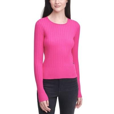 カルバンクライン レディース シャツ トップス Ribbed-Knit Crewneck Sweater