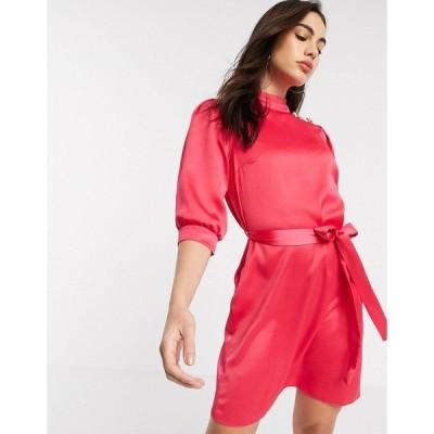 リバーアイランド レディース ワンピース トップス River Island button shoulder belted satin dress in pink Pink