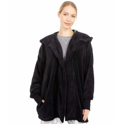 ヒュー ナイトウェア アンダーウェア レディース Solid Fuzzy Hooded PJ Robe Black
