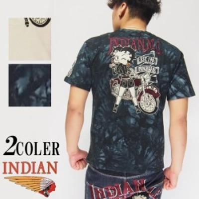 9350円を15%OFFセール INDIAN MOTOCYCLE[インディアンモトサイクル]×ベティブープ ベティー レーシング 刺繍 Tシャツ/BBI-912/送料無