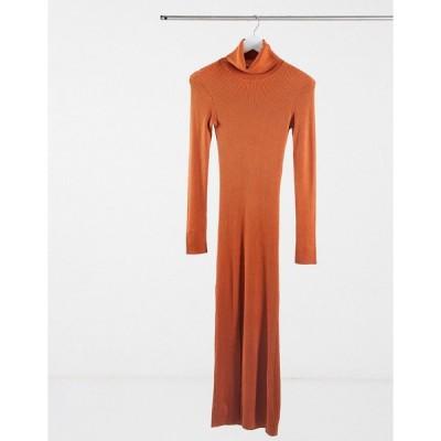 ヤス ミディドレス レディース Y.A.S. long sleeve roll neck jumper dress in rust  エイソス ASOS sale