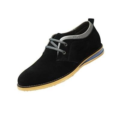 [MERLIN] 身長7cmUP! シークレット シューズ メンズ デイリー 靴 (25, 黒)