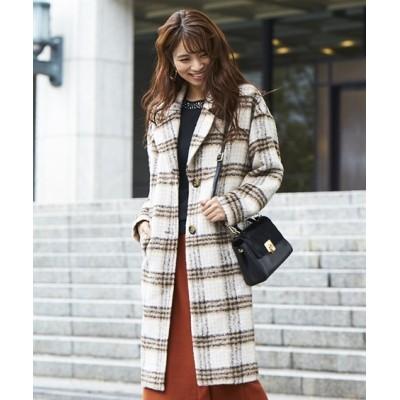 シャギーチェックロングコート (コート)(レディース)Coat
