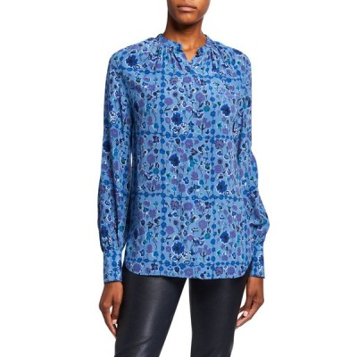 エキプモン レディース シャツ トップス Cassette Floral Silk Button-Down Shirt