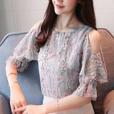 ブラウスレディースオシャレ上品花柄シャツ肩出しトップス夏シフォンブラウス可愛い韓国風オフィスビジネス40代着痩せ