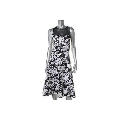 ドレス 女性  アクア アクア 2861 レディース B/W フローラル プリント Knee-Length Party Cocktail ドレス L
