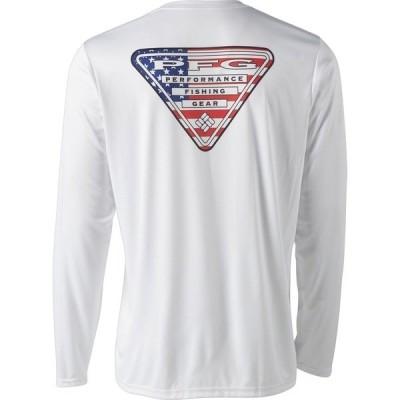 コロンビア シャツ トップス メンズ Columbia Sportswear Men's PFG Terminal Tackle Country Triangle Long Sleeve T-shirt White/USA Flag