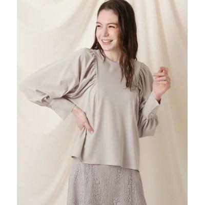 Couture Brooch/クチュールブローチ 布帛見え梨地ジャージボリューム袖ブラウス ライトグリーン(021) 42(LL)