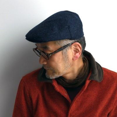 日本製 MOON イギリス 生地使用 ヘリンボーン ツイード マルゼ ハンチング メンズ サイズ調節可 HATBLOCK 秋冬 帽子 ハットブロック 紺 ネイビー