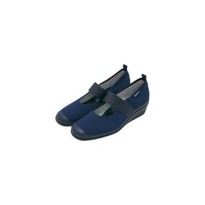 KISSA suport キサスポーツ ラウンドトゥ パンプス KS8125-505 ネイビー 生地 ゴムベルト ウェッジ ミドルヒール レディース 靴 お取り寄せ商品