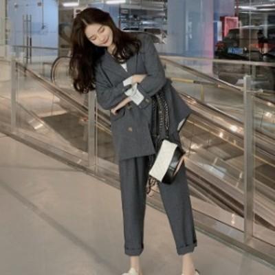 レディースセットアップ パンツスーツ レディース上下 レディース スーツ セットアップ 上下 ジャケット パンツ 韓国 ファッション レデ