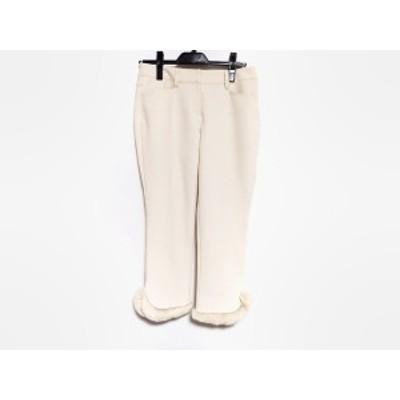 トゥービーシック TO BE CHIC パンツ サイズ40 M レディース 美品 - アイボリー クロップド(半端丈)/ファー【中古】20201031