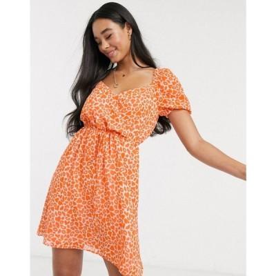 フレンチコネクション French Connection レディース ワンピース ワンピース・ドレス lips and heart print mini dress in neon orange