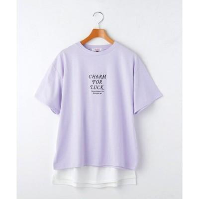 tシャツ Tシャツ ロゴ刺しゅうTシャツ+付け裾セット