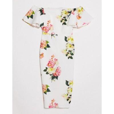 トゥルーバイオレット ミディドレス レディース True Violet off shoulder flutter sleeve midi dress in floral print エイソス ASOS マルチカラー
